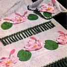 Bath Towel Flower Appliques Towel Motil Water Lilies Crochet Patterns
