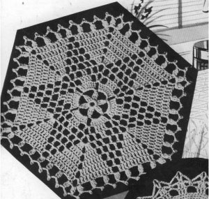 Hexagon Bedspread Crochet Thread Motif Vintage  Star Pattern