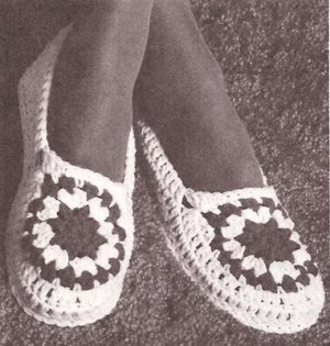 Crochet Ladies Moccasin Slippers, Yarn Vintage Patterns ...
