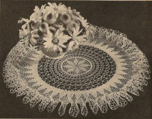 Vintage  Doily Crochet Patterns Sunburst Ruffle 16""