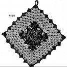 Irish Crochet Pattern Rose Square Kitchen Hotmat Potholder Pattern