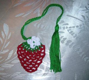 Strawberry Shaped Bookmark with Flower, Crochet Applique,  Pattern Instructions
