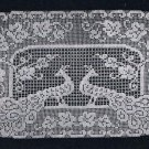 Runner Oval Doily,Vintage Filet Crochet, Peacock Doily, Lace Pattern