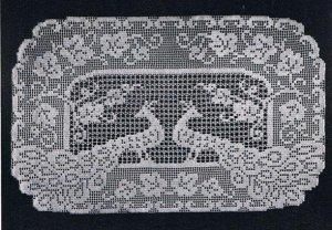 Filet Crochet Doily Pattern, Peacock Runner Crochet