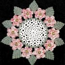 Rose Doily Crochet, Layered 3d Flower Centerpiece and Irish Leaves