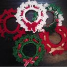 Mini Wreath Ornaments, Lapel Pattern Holiday Pins, Christmas Crochet Patterns