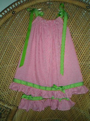 Custom Boutique Hot Pink-Lime Pillowcase Dress Set-2,3,4