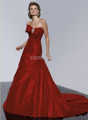 A-line gown asymmetrical bow sweetheart neckline Jewelling ornaments stunning swept train gown dress