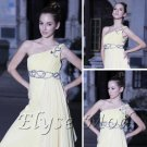 ELYSEMOD Empire One Shouder Floor-length Beads Lace Chiffon Quick Delivery/ formal evening dresses