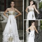 ELYSEMOD A-line Strapless Sweep Train Print Flower Silk Stain Quick Delivery Evening/ Gown Dresses