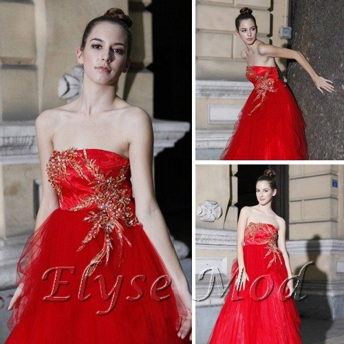 ELYSEMOD Ball Gown Strapless Court Train Tuell Embroidery Quick Delivery Evening/ Wedding Dresses