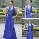 ELYSEMOD A-line V-neck Floor Length Matte Silk Rhineston Flower Quick Delivery Evening Dress