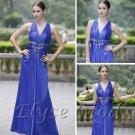ELYSEMOD A-line V-neck Floor Length Matte Silk Rhineston Flower Quick Delivery Evening Dress