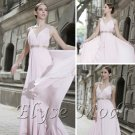 ELYSEMOD Trumpet/ Mermaid V-neck Floor Length Chiffon Rhinestone Quick Delivery Formal Dresses