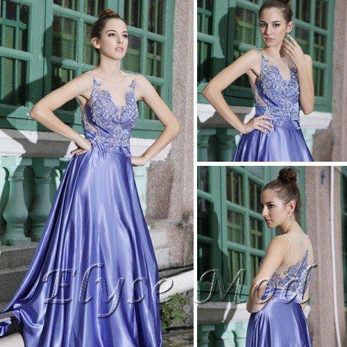 ELYSEMOD  A-line V-neck Floor Length Elastic Silk-like Satin Quick Delivery Formal Dresses