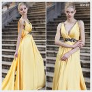Elysemod A-line V-Neck Asymetrical Sleeveless Satin Beading Daffodil Evening Dress/Dresses 80189