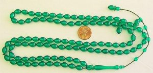 Islamic Prayer Beads TRANSPARENT GREEN GALALITH 99