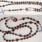 WEARABLE CATHOLIC ROSARY RAINBOW CALSILICA & SILVER
