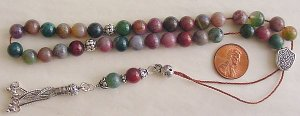 BLOODSTONE + STERLING GREEK KOMBOLOI WORRY BEADS
