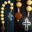 CATHOLIC OPEN CHAPLET CARVED BONE CARNELIAN & STERLING