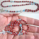 MINI CATHOLIC ROSARY RED CORAL TURQUOISE & STERLING