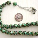 PRAYER BEADS KOMBOLOI CLOISONNE GREEN BLACK GOLD 33BEAD
