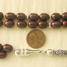 PRAYER BEADS KOMBOLOI CRANBERRY PEARLS & STERLING