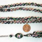 PRAYER BEADS CLOISONNE BLACK ENAMEL AND GOLD  99 BEADS