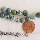 GREEK KOMBOLOI WORRY BEADS MOSS AGATE AND STERLING