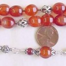 GREEK KOMBOLOI LANTERN CARNELIAN &STERLING WORRY BEADS