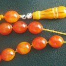 GREEK KOMBOLOI ORANGE AMBER OVAL BEADS +STERLING