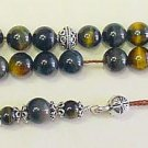 GREEK KOMBOLOI WORRY BEADS HAWK'S EYE +STERLING SILVER