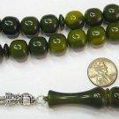 PRAYER BEADS TASBIH KOMBOLOI MARBLED GREEN  RESIN