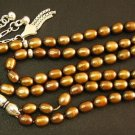 ISLAMIC PRAYER BEADS 99 GOLDEN COLOR PEARLS & STERLING