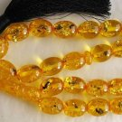 PRAYER BEADS *OVAL* AMBER RESIN INSECTS IN EACH BEAD