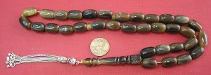 PRAYER BEADS TESBIH AFRICAN HORN LONG BARREL BEADS