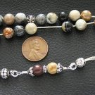 GREEK KOMBOLOI WORRY BEADS PICASSO JASPER AND  STERLING
