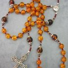 CATHOLIC ROSARY GENUINE GOLD & COGNAC AMBER & STERLING