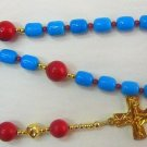 ANGLICAN ROSARY PRAYER BEADS TURQUOISE CORAL VERMEIL