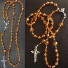 CATHOLIC ROSARY  SWAROVSKI AMBER CRYSTALS AND STERLING