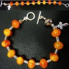 CATHOLIC ROSARY BRACELET AMBER GALALITH AND STERLING