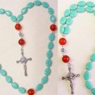 ANGLICAN ROSARY PRAYER BEADS TURQUOISE AGATE STERLING