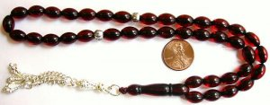 WORRY PRAYER BEADS RICE TRANSPARENT DARK CHERRY RED