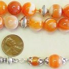 GREEK KOMBOLOI WORRY BEADS ORANGE BANDED AGATE STERLING