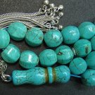 PRAYER BEADS TESBIH CARVED DRAGON TURQUOISE & STERLING