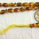 PRAYER WORRY BEADS REAL COGNAC AMBER + MOP- SMALL OVAL