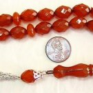 PRAYER BEADS COGNAC AMBER DIAMOND FACETED LUCITE