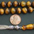 PRAYER BEADS TESBIH KOMBOLOI TIGER EYE & STERLING 10MM BEADS PERFECT COMPLETE