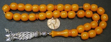 PRAYER BEADS KOMBOLOI SQUARE BARREL YELLOW  FATURAN