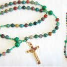 CATHOLIC ROSARY BLOODSTONE & VERMEIL WITH VINTAGE CROSS AND SAINT RITA CENTER